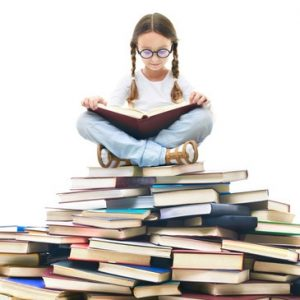 Girl On A Mountain Of Books